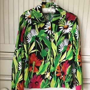 Bright Floral Print Chico's Blazer Jacket
